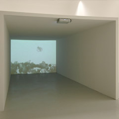 """α, β, γ"" Gallery Mezzanin, Vienna, 2005, with Christian Mayer and Marlene Haring, Untitled, 210x280x590 cm, Videoprojection (16min, Loop), Cardboardconstruction, 2005, videostill"