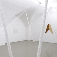 Neue Galerie Graz, Studio, 2008, left: Untitled, 110x100x5cm, wood, perspex, latex, acrylic, 2008, Untitled, 60x60x6cm, wood, perspex,styrofoam, shellac, couverture, nuts, 2008, Photo: Nici Lackner