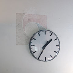 """Semperdepot"", Near My Desk - Art Space, Vienna, 2015, Christian Kosmas Mayer and Manuel Gorkiewicz, ca. 130x130cm, Makeup, Skin cream, Clock (Vienna mean solar time), 2015"