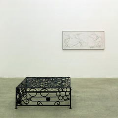 """Glas/Hocker/Lampe/Mantel/Stuhl/Teppich/Tisch"" Galerie Johann Widauer, Innsbruck, 2016, from left to right: Heimo Zobernig: Untitled,  74cm  x 74cm x 74cm, mirror, steel, 1999/2002; Manuel Gorkiewicz: Untitled, 70cm x 70cm x 180cm steel, paper, LED, 2016; Manuel Gorkiewicz: Untitled, murano glass, 2014; Martin Kippenberger: Holz Selzer, 80cm x 34cm, wood, steel, 1990; Georg Herold: Hungertuch, 110cm x 50cm, linnen, caviar, 1986; Peter Kogler: Untitled, 90cm x 90cm x 73cm, silkscreen on glass, steel, 2004; Thomas Bayrle: Untitled, 100cm x 65cm, synthetic, 1968/2001"